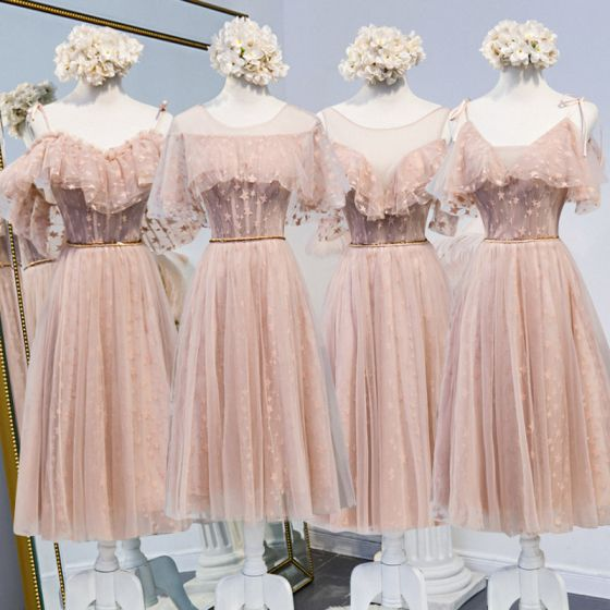 Chic / Beautiful Pearl Pink Bridesmaid Dresses 2020 A-Line / Princess Appliques Lace Beading Sash Short Ruffle Backless Wedding Party Dresses