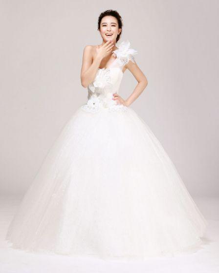 Einen Schulter Strass Bodenlangen Satin A Linie Hochzeitskleid