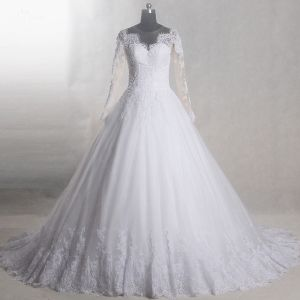 Amazing / Unique White Chapel Train Wedding 2018 Long Sleeve U-Neck Tulle See-through Backless Beading Pierced Ball Gown Wedding Dresses