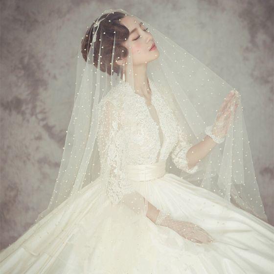 Klassisch Elegante Weiß Brautschleier 2020 3 m Tülle Perlenstickerei Perle Kapelle-Schleppe Hochzeit