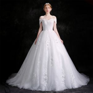 Chic / Beautiful White Wedding Dresses 2018 Ball Gown Lace Flower Rhinestone Organza Off-The-Shoulder Backless Sleeveless Cathedral Train Wedding