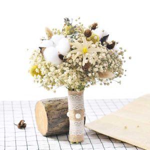 Romantyczny Białe Ślub Kwiat Wykonany Ręcznie Sztuczne Kwiaty Bukiety Ślubne 2019