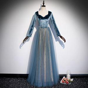 Eleganckie Niebieskie Gwiazda Sukienki Na Bal 2020 Princessa Zamszowe V-Szyja Długie Rękawy Długie Sukienki Wizytowe
