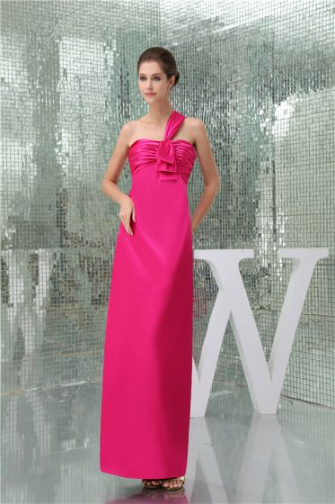 2015 Simple Empire One Shoulder Pleated Long Bridesmaid Dress