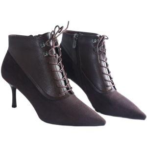 Mote Sjokolade Gateklær Suede Kvinners støvler 2021 Ankel 7 cm Stiletthæler Spisse Boots