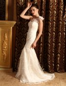 2015 Trumpet /Mermaid One Shoulder Lace Beach Wedding Dress