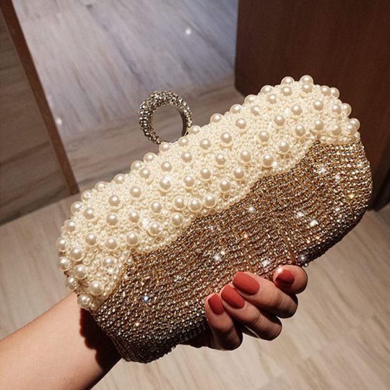 Luxury / Gorgeous Gold Beading Crystal Rhinestone Evening Party 2018 Clutch Bags