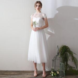 Klassisch Elegante Weiß Wadenlang Abendkleider 2018 A Linie Tülle Schnüren Mit Schal Abend Festliche Kleider