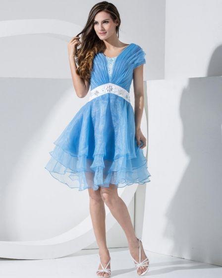 Stylish Organza Satin Silk V Collar Ruffle Back Zipper Beading Belt Knee Length Sleeveless Tiered Cocktail Dress
