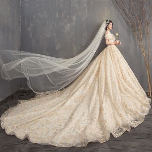 Luxury / Gorgeous Champagne Ball Gown Wedding Dresses 2019 U-Neck Lace Tulle Backless Beading Embroidered Cathedral Train Church Wedding