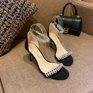 Charmerende Sorte Selskabs Sandaler Dame 2020 Rhinestone Ankel Strop 10 cm Stiletter Peep Toe Sandaler