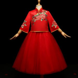 Chic / Beautiful Red Chinese style 2 Piece Flower Girl Dresses 2017 Ball Gown Embroidered Bow High Neck Sleeveless Floor-Length / Long Wedding Party Dresses