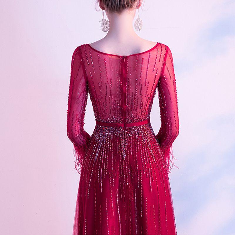 High-end Red Evening Dresses  2020 A-Line / Princess Scoop Neck Beading Crystal Sequins Sash Long Sleeve Floor-Length / Long Formal Dresses