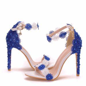 Chic / Belle Deux tons Jardin / Extérieur Sandales Femme 2020 Perle En Dentelle Fleur 11 cm Talons Aiguilles Peep Toes / Bout Ouvert Sandales