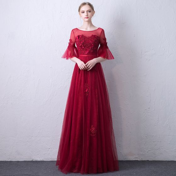 Chic / Beautiful Burgundy See-through Evening Dresses  2019 A-Line / Princess Scoop Neck Bell sleeves Sash Appliques Lace Pearl Floor-Length / Long Ruffle Backless Formal Dresses