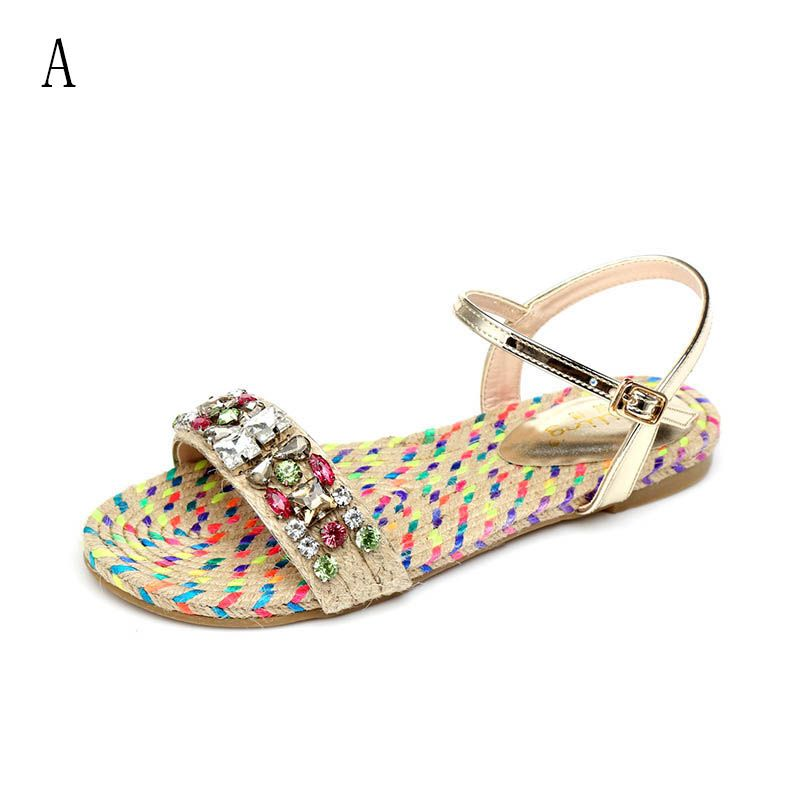 Chic / Beautiful Gradient-Color Outdoor / Garden Womens Sandals 2017 PU Braid Rhinestone Flat Open / Peep Toe Sandals