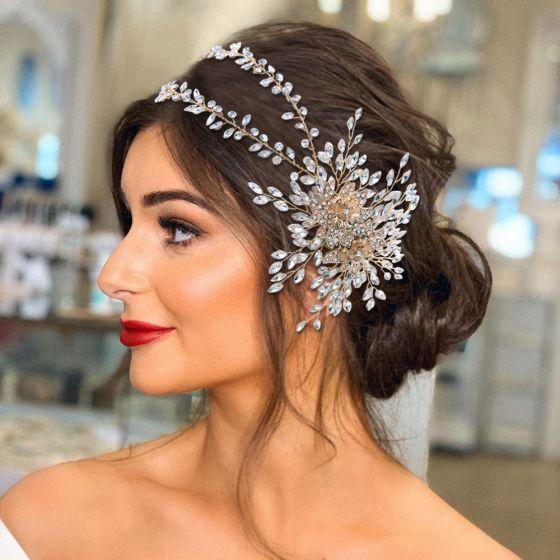 Mode Silber Hochzeit Kopfschmuck 2021 Legierung Strass Haarschmuck Braut