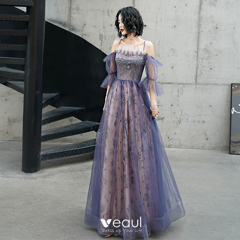 Fashion Purple Evening Dresses 2020 A,Line / Princess Spaghetti Straps  Beading Sequins Lace Flower Short Sleeve Backless Floor,Length / Long  Formal