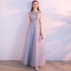 Chic / Beautiful Grey Prom Dresses 2017 A-Line / Princess Scoop Neck Short Sleeve Appliques Lace Sequins Beading Floor-Length / Long Ruffle Pierced Backless Formal Dresses