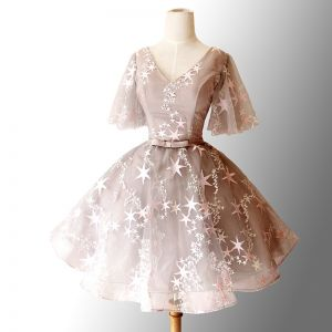 Elegant Grey Cocktail Dresses 2018 Ball Gown Star Bow V-Neck Backless Short Sleeve Short Formal Dresses