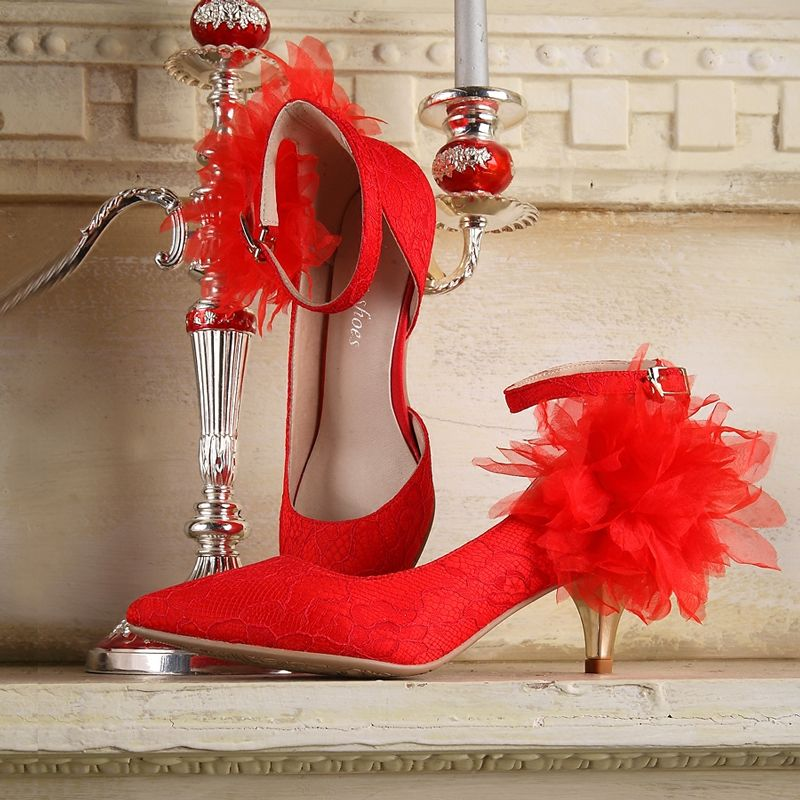 Chic / Beautiful 2017 8 cm / 3 inch White Red Casual Leather Red Embroidered Pleated High Heels Stiletto Heels Pumps Wedding Shoes