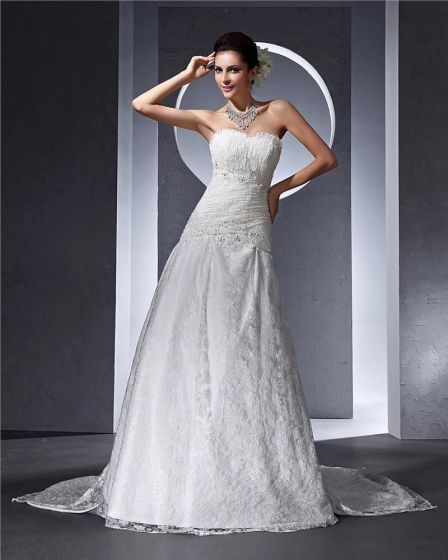 Sweetheart Ruffle Beading Floor Length Lace Woman A Line Wedding Dress