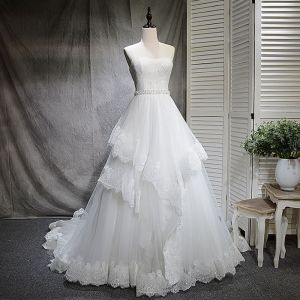 Chic / Beautiful White Wedding Dresses 2018 A-Line / Princess Rhinestone Sequins Sweetheart Backless Sleeveless Court Train Wedding