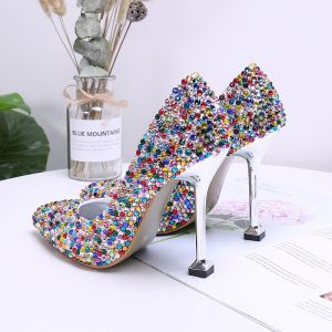 Fancy Multi-Farver Rhinestone Rave Club Pumps 2020 9 cm Stiletter Spidse Tå Pumps
