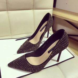 Chic / Beautiful Black Gold Evening Party Pumps 2019 Rhinestone 10 cm Stiletto Heels Pointed Toe Pumps