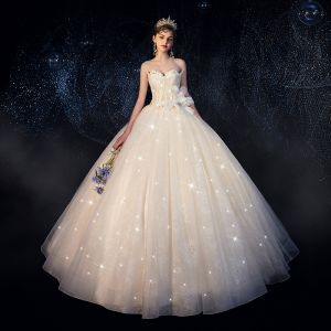 Chic / Beautiful Champagne Wedding Dresses 2019 Ball Gown Strapless Glitter Sequins Appliques Lace Flower Sleeveless Backless Floor-Length / Long