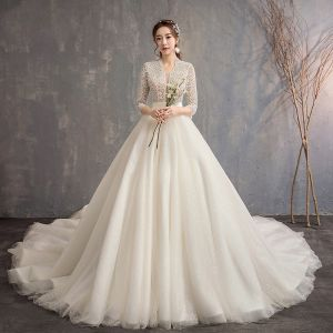 Style Chinois Ivoire Robe De Mariée 2019 Princesse V-Cou 3/4 Manches Fait main Perlage Glitter Tulle Cathedral Train Volants