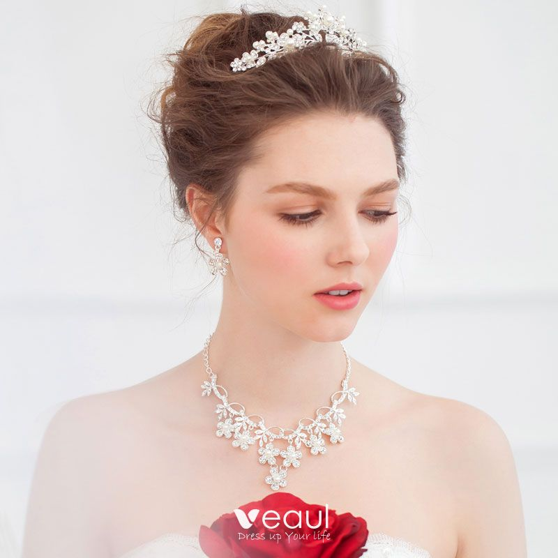 Bridal Tiara Necklace Earrings Three Piece Wedding Dress Accessories