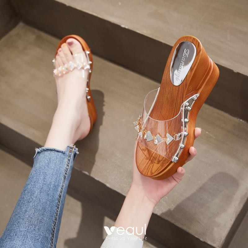 Transparent Summer Brown Casual Womens