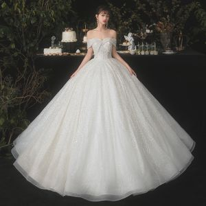 Sparkly Champagne Bridal Wedding Dresses 2020 Ball Gown Off-The-Shoulder Short Sleeve Backless Beading Sequins Glitter Tulle Floor-Length / Long Ruffle