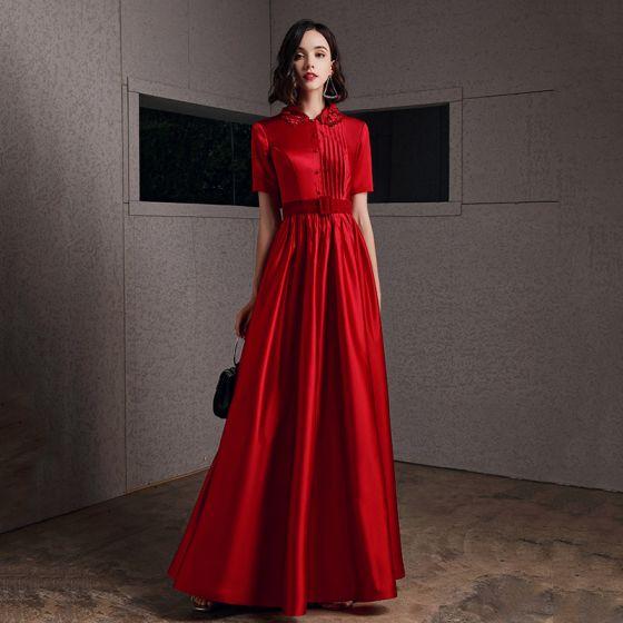 Chic / Beautiful Red Satin Evening Dresses  2020 A-Line / Princess High Neck Short Sleeve Appliques Flower Sash Floor-Length / Long Ruffle Formal Dresses