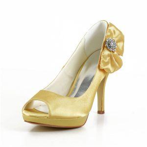 Mooie Gouden Feestschoenen Satijn Peep Toe Galaschoenen Met Strikje