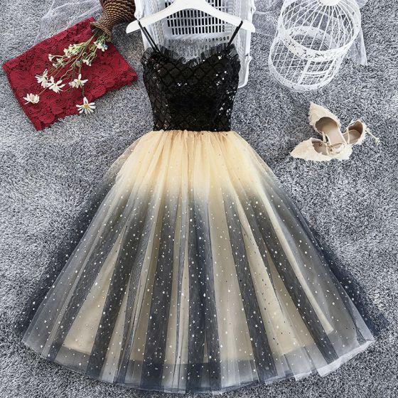Chic / Beautiful Black Champagne Party Dresses 2019 A-Line / Princess Spaghetti Straps Sleeveless Glitter Tulle Sequins Tea-length Ruffle Backless Formal Dresses