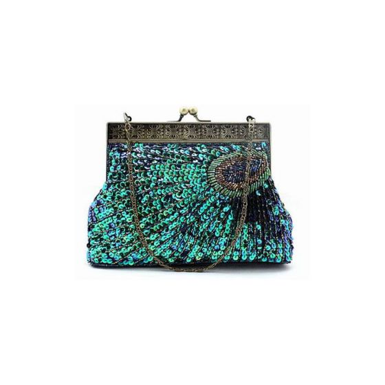 Peacock Handmade Beaded Clutch Bag Retro Dress Bag Chain Packet