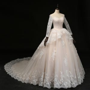Affordable Champagne Wedding Dresses 2018 Ball Gown Scoop Neck Long Sleeve See-through Appliques Lace Pearl Ruffle Royal Train