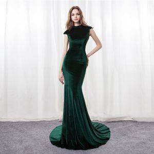 Modern / Fashion Dark Green Suede Pierced Evening Dresses  2018 Trumpet / Mermaid High Neck Sleeveless Sequins Court Train Backless Formal Dresses