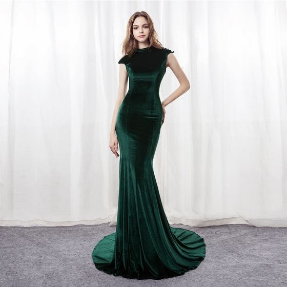 Modern / Fashion Dark Green Suede Pierced Evening Dresses  2018 Trumpet / Mermaid High Neck Sleeveless Sequins Court Train Backless Formal Dresses