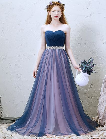2016 Classic Pleated Sweetheart Neckline Strapless Backless Blue Tulle Long Prom Dress With Ringstone Sash