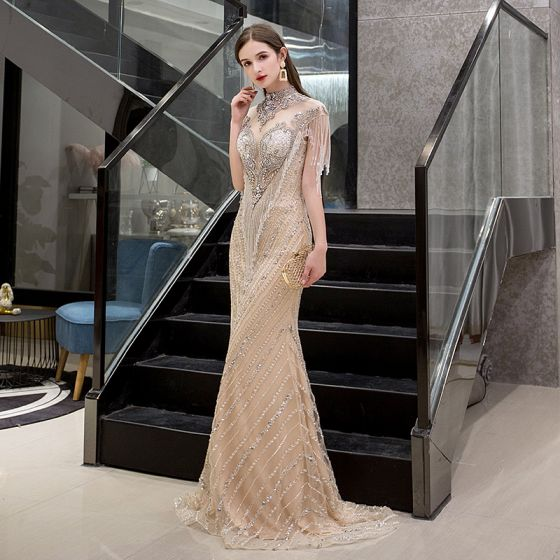 Luxury / Gorgeous Gold See-through Evening Dresses  2019 Trumpet / Mermaid High Neck Sleeveless Handmade  Beading Tassel Sweep Train Formal Dresses