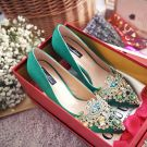 Luxury / Gorgeous 2017 7 cm Green Casual Evening Party PU Summer Crystal Rhinestone High Heels Stiletto Heels Pumps