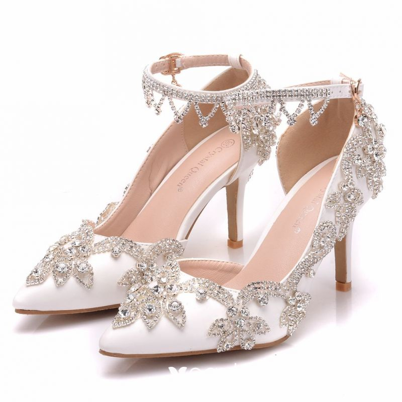 1e61e5dfd54 Modern / Fashion White Wedding Shoes 2018 Rhinestone 8 cm Stiletto ...