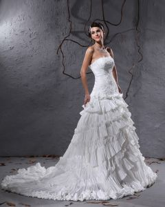 Ruffles Layered Lace Court Empire Bridal Gown Wedding Dress