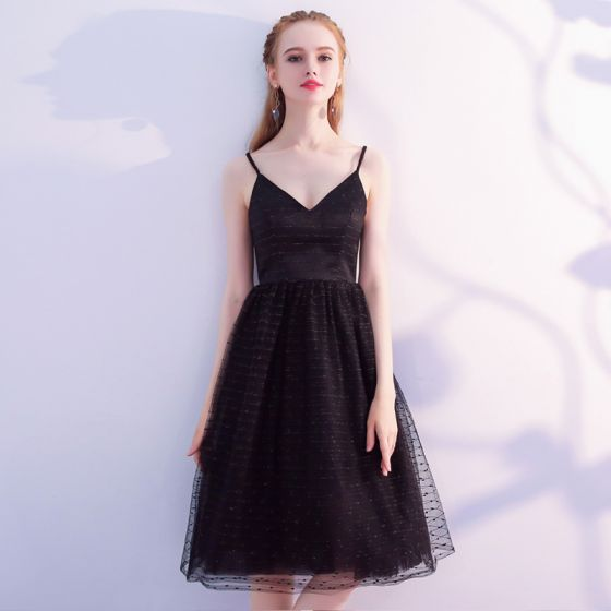 Simple Black Spaghetti Strap Dress