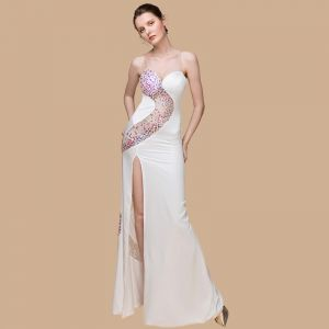 Sexy Ivory See-through Evening Dresses  2018 Trumpet / Mermaid Sweetheart Sleeveless Sequins Floor-Length / Long Backless Formal Dresses