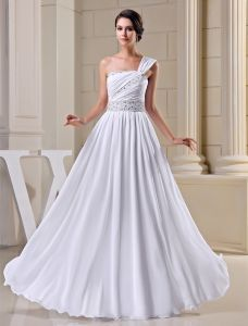2015 Elegant Empire One Shoulder Pleated Beading Sash Long Evening Dress