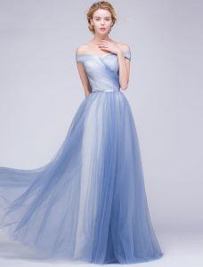 Elegant Evening Dresses 2016 A-line Off The Shoulder Backless Sky Blue Long Dress
